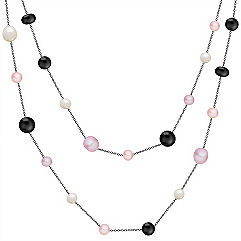 6.5-9.5mm Multi-Colored Cultured Freshwater Pearl, Black Agate and Sterling Silver Necklace (47 in.)