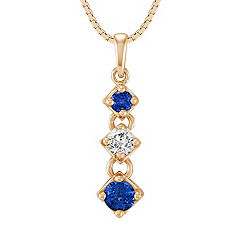 Round Sapphire and Diamond Three-Stone Pendant (18 in.)