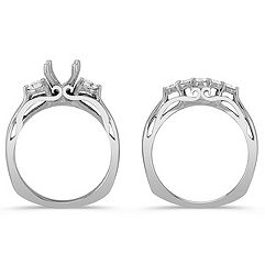 Cathedral Three-Stone Diamond Wedding Set