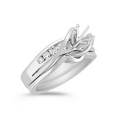 Swirl Diamond Wedding Set with Channel Setting