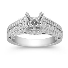 Vintage Diamond Engagement Ring with Pave and Channel Setting