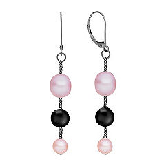6.5-9.5mm Multi-Colored Cultured Freshwater Pearl, Black Agate and Sterling Silver Earrings