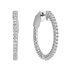 3/4 Round Diamond Hoop Earrings