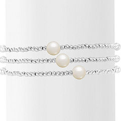 3-7.5mm Cultured Freshwater Pearl and Sterling Silver Bangle Bracelet (7.5)
