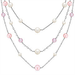 5-10mm Multi-Colored Cultured Freshwater Pearl and Sterling Silver Necklace (24)