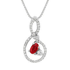 Oval Ruby and Round Diamond Pendant (18 in.)