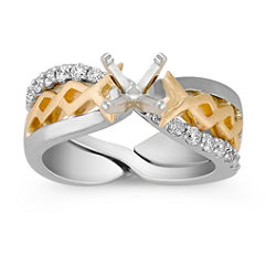 Diamond Two-Tone Wedding Set with Pave Setting for Her
