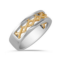 14k Two-Tone Gold Ring for Him (6mm)