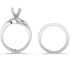 14k White Gold Wedding Set for Her