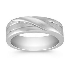 14k White Gold Ring for Him (6.5mm)