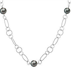 9mm Cultured Tahitian Pearl and Sterling Silver Necklace (25 in.)