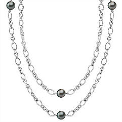9mm Cultured Tahitian Pearl and Sterling Silver Necklace (36 in.)
