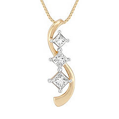 Princess Cut Diamond Three-Stone Pendant (18 in.)