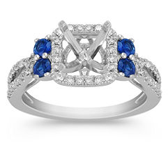 Halo Sapphire and Diamond Engagement Ring