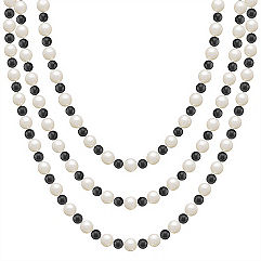 6.5mm Cultured Freshwater Pearl and Black Agate Strand (65 in.)