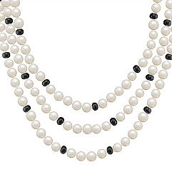 6.5mm Cultured Freshwater Pearl and Black Agate Necklace (65 in.)