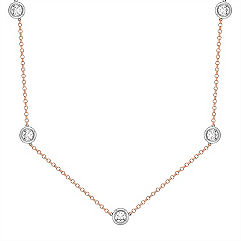 2 1/2 ct. t.w Round White Sapphire Necklace in 14k White and Rose Gold (16 in.)