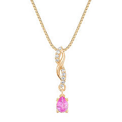 Pear Shaped Pink Sapphire and Round Diamond Pendant (18 in.)