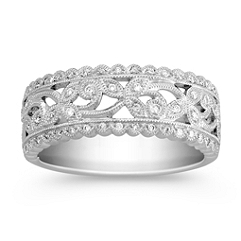 Vintage Diamond Swirl Anniversary Band
