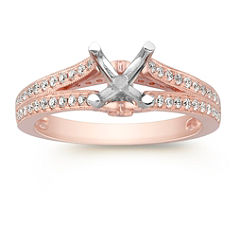 Cathedral DIamond Rose Gold Engagement Ring with Pave Setting