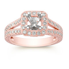 Halo Diamond Rose Gold Engagement Ring with Pavé Setting