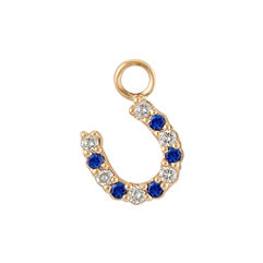 Round Sapphire and Diamond Horseshoe Charm
