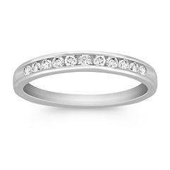 Channel Set Diamond Wedding Band in Platinum