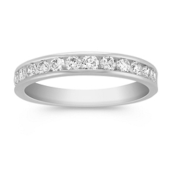 Channel Set Diamond Platinum Wedding Band