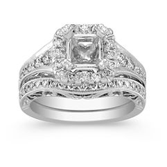 Halo Vintage Diamond Wedding Set with Pavé Setting