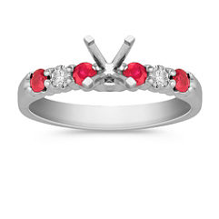 Round Ruby and Diamond Engagement Ring