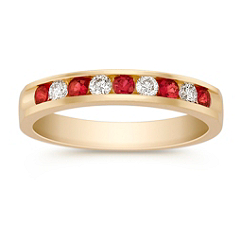 Round Ruby and Diamond Wedding Band