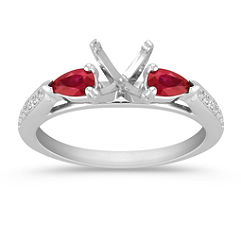Pear Shaped Ruby and Round Diamond Engagement Ring with Pave Setting