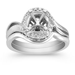 Halo Swirl Diamond Wedding Set with Pavé setting