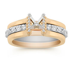 Round Diamond Two-Tone Gold Wedding Set with Pave Setting for Her