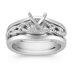 Solitaire White Gold Wedding Set for Her