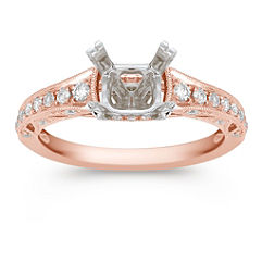 Vintage Cathedral Diamond Engagement Ring with Pavé Setting in Rose Gold