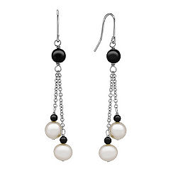 7.5mm Cultured Freshwater Pearl, Black Agate and Sterling Silver Earrings