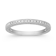 Vintage Diamond Platinum Wedding Band with Pavé Setting
