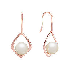 7.5mm Cultured Freshwater Pearl Earrings in Rose Gold