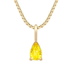 Pear Shaped Yellow Sapphire Pendant (18 in.)