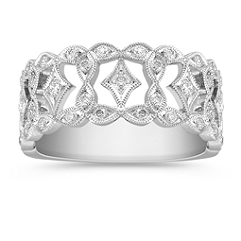 Vintage Diamond Platinum Ring with Pavé Setting
