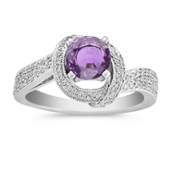 1 1/2 ct. Round Lavender Sapphire and Diamond Ring