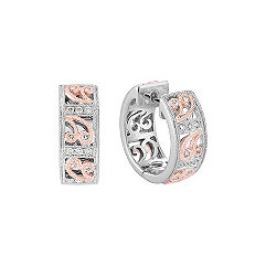 Round Diamond Hoop Earrings in 14k White and Rose Gold