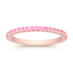 Round Pink Sapphire Wedding Band in Rose Gold