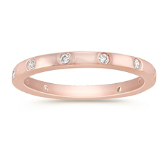Bezel Set Diamond Anniversary Band in 14k Rose Gold