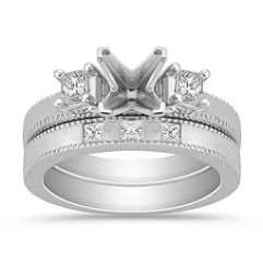 Three-Stone Princess Cut Diamond Wedding Set for Her