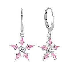 Kite Shaped Pink Sapphire and Round White Sapphire Earrings