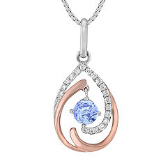 Round Ice Blue Sapphire and Diamond Pendant in 14k White and Rose Gold (18 in.)