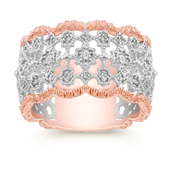 1/3 ct t.w. Round Diamond Ring in 14k White and Rose Gold
