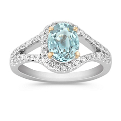 Oval Blue Green Sapphire and Round Diamond Ring in Two-Tone Gold